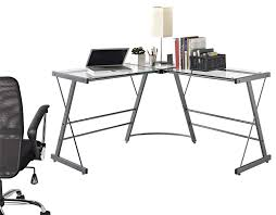 amazon com altra odin glass l shaped computer desk gray kitchen