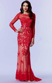 red lace prom dresses with sleeves naf dresses