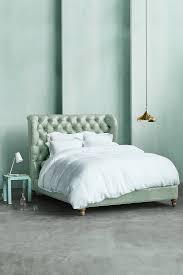 bedroom skyline velvet tufted headboard nail head bed