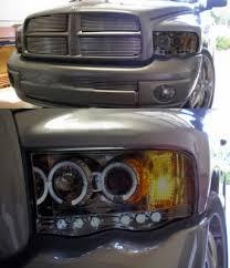 02 dodge ram headlights dodge ram 2002 2005 smoked halo projector headlights and led