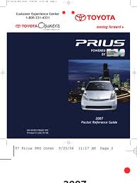100 2007 prius vehicle pocket reference guides new 2017