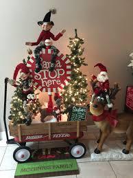 santa stops here raz elf radio flyer wagon happy deer