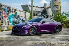 dark purple porsche purple nissan gt r lowered on velgen wheels gtspirit