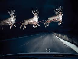 audi headlights poster mercedes print advert by bbdo reindeer in headlights ads of the