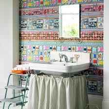 Funky Bathroom Lights Enchanting Funky Wallpapered Bathroom Decorating Ideas To Energise