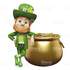 st patricks day leprechaun with his pot of gold stock photo
