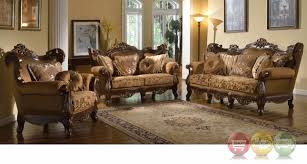 Formal Living Room Couches by Winged Back Golden Brown Formal Sofa Set With Carved Wood Frame