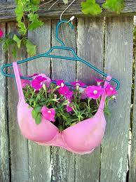 Wacky Garden Ideas Petunas And Plunk Them Into A Bra Planter As