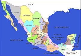 political map of mexico map of mexico showing states major tourist attractions maps