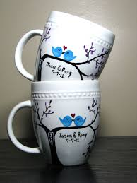 Nice Coffee Mugs Personalized Coffee Mugs Painted Cups Love Birds Set Of Two