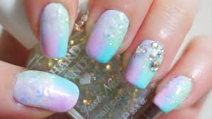 glitter pastel gradient nails youtube