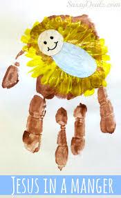 diy baby jesus in a manger handprint craft for kids jesus crafts