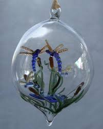 crafted dragonflies on cattails blown glass ornament by