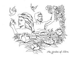 adam and eve rebellion to lord god in garden of eden coloring page