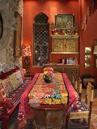 Mexican Dining Room Furniture by Mexican Dining Room With Colorful Fabrics And Decorative Wall