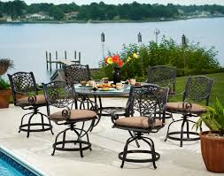 Bar Height Patio Dining Sets - agio rochester 7 piece alumicast outdoor round gathering height