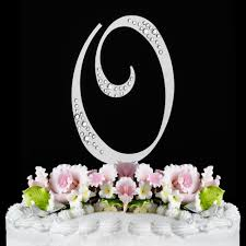 monogram wedding cake topper o sparkle silver wf monogram wedding cake toppers