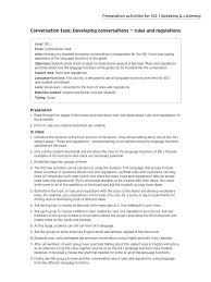 ise i conversation task rules and regulations conversation