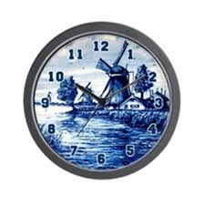 amazon com cafepress blue and white delft style wall clock home