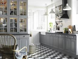 Black White Kitchen Ideas by Alluring Grey Accent With Big Glass Cupboard On Black White Tile