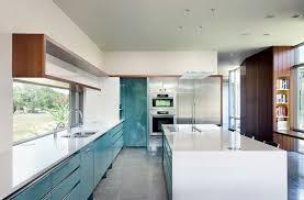 cuisine blanche et bleue déco cuisine moderne design plan blanc bleu tirquoise déco