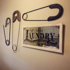 Laundry Room Signs Decor by Laundry Room Wall Decor Large Safety Pins And Mirror Laundry