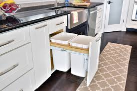 Built In Kitchen Cabinet Decorating Astonishing Pull Out Trash Can Cabinet In Cool Black 2