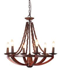French Wooden Chandelier Cherry Wood Chandelier With 6 Bulb And Wooden Beads Using Metal