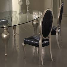 glass chrome dining table italian designer oval glass dining table and chairs set