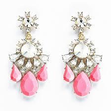 Pink Chandelier Earrings Twinkle Statement Earrings Coral Pink Chandelier