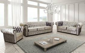 crushed velvet chesterfield sofa suit armchairs in grey 3 and 2