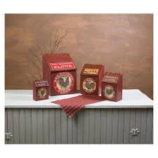 rooster kitchen canisters small red rooster wooden kitchen canisters 12620 buffalo trader online
