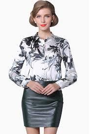 plus size silk blouse mulberry silk blouse sleeve work brand print satin