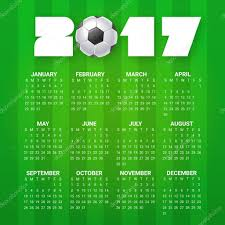 calendar for 2017 year sport football games theme soccer ball