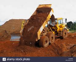 volvo site volvo dump truck working on a building site in england stock photo
