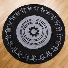 Black Round Rug Amazon Com One Grace Place Teyo U0027s Tires Round Rug Black And Grey
