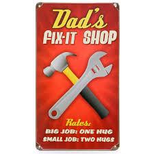 dad u0027s fix it shop rules funny metal sign garage signs