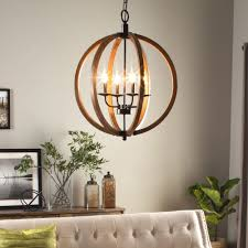 modern chandelier lighting globe 4 lights wood ceiling fixture