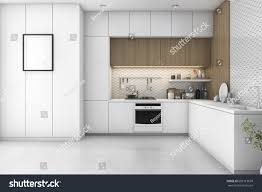 3d rendering white minimal kitchen wood stock illustration