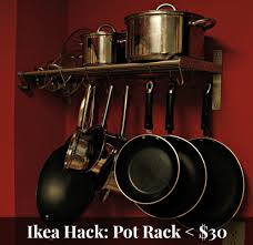 lighted hanging pot racks kitchen been there done that ikea hack pot rack under 30 choptank