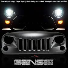 jeep eagle 2016 genssi abs angry style grille for jeep wrangler jk 2007 2015