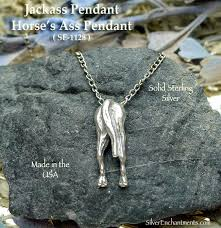 horse necklace pendants images Sterling silver jackass pendant horse 39 s ass necklace jpg