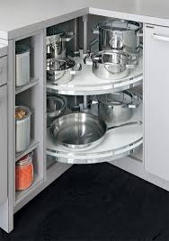 Allmilmo Inserts Corner Cabinet Lazy Susan With Chrome Rails - Lazy susan kitchen base cabinet
