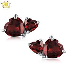 garnet stud earrings aliexpress buy hutang heart garnet stud
