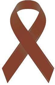 brown ribbon awareness ribbons inclined with insanity
