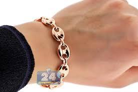 rose gold hand bracelet images Real 10k rose gold mariner puff link mens bracelet 12mm 8 25 quot jpg