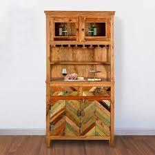 reclaimed wood wine bar hutch sideboard with glass stem rack