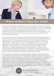 Resume Bio Sample by Human Resources Bio Writing Service Biography Writing Services