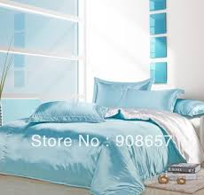 light blue girls bedding light blue white mix match colors smooth tribute silk satin bed