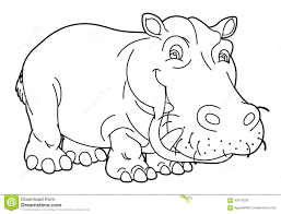 cartoon animal hippo caricature coloring page stock